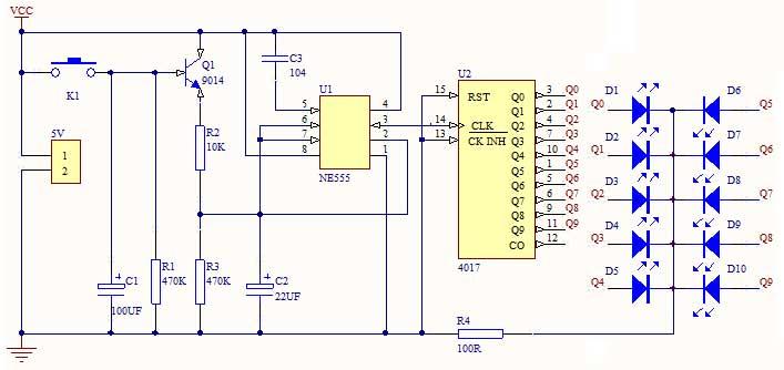 本电路主要由脉冲产生器和一个十进制计数器cd4017电路组成.